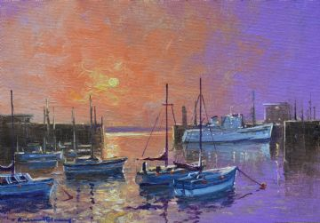 Richard Blowey Original Oil Painting Penzance Harbour Cornwall